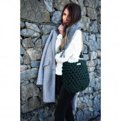 Sznurkowa torebka maxi- kolor butelkowa zieleń. Zielone torebki klasyczne damskie marki Pakamera, z bawełny. Za 179,00 zł.