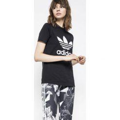 Adidas Originals - Top. Szare topy damskie adidas Originals, z nadrukiem, z bawełny, z okrągłym kołnierzem. W wyprzedaży za 99,90 zł.