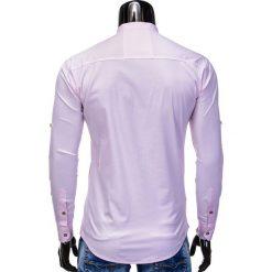 KOSZULA MĘSKA Z DŁUGIM RĘKAWEM K353 - RÓŻOWA. Brązowe koszule męskie na spinki marki Ombre Clothing, m, z aplikacjami, z kontrastowym kołnierzykiem, z długim rękawem. Za 59,00 zł.