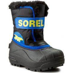 Buty zimowe chłopięce: Śniegowce SOREL – Childrens Snow Commander NC 1877 Black/Super Blue 011