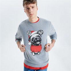 Bluza z motywem świątecznym - Jasny szary. Szare bluzy męskie rozpinane Cropp, l. Za 79,99 zł.