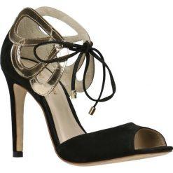 Sandały YOON. Czarne sandały damskie Gino Rossi, z nubiku, na wysokim obcasie, na szpilce. Za 399,90 zł.