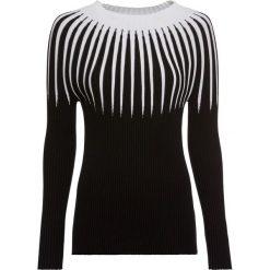Sweter dzianinowy w paski bonprix czarno-kremowy. Czarne swetry klasyczne damskie marki bonprix, z dzianiny, ze stójką. Za 119,99 zł.
