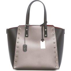 Torebki klasyczne damskie: Skórzana torebka w kolorze miedziano-czarnym – 34 x 30 x 14 cm