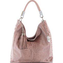 Torebki klasyczne damskie: Skórzana torebka w kolorze jasnoróżowym – 38 x 36 x 14 cm