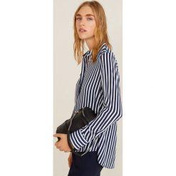 Mango - Koszula Swede2. Szare koszule wiązane damskie Mango, l, w paski, z tkaniny, klasyczne, z klasycznym kołnierzykiem, z długim rękawem. Za 99,90 zł.