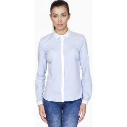 Bielizna damska: Błękitna Koszula z Ozdobnym Kołnierzykiem