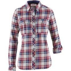 Koszula flanelowa, długi rękaw bonprix bordowo-kremowo-ciemnoniebieski w kratę. Czerwone koszule wiązane damskie bonprix, z długim rękawem. Za 74,99 zł.
