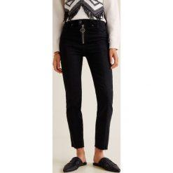 Mango - Jeansy Zipper. Czarne proste jeansy damskie Mango. Za 199,90 zł.
