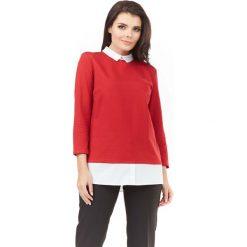 Bluzki damskie: Czerwona Elegancka Bluzka 2 w 1 z Białym Kołnierzykiem