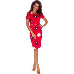 Solana wygodna sukienka dzienna CZERWONA W BAIŁE KWIATY. Czerwone sukienki marki Bergamo, w kwiaty. Za 209,99 zł.