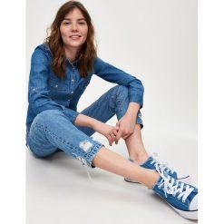 Jeansowa koszula - Niebieski. Niebieskie koszule jeansowe damskie Sinsay, l. W wyprzedaży za 29,99 zł.