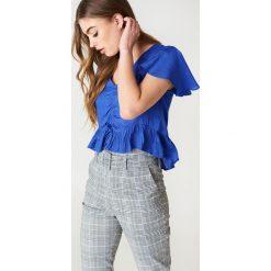 Bluzki damskie: NA-KD Boho Bluzka z rozkloszowanymi rękawami - Blue