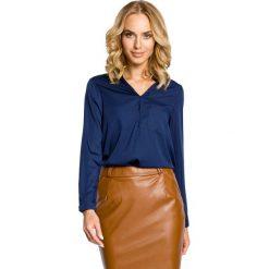Granatowa Koszulowa Bluzka ze Stójką. Niebieskie bluzki koszulowe marki Molly.pl, l, biznesowe, z długim rękawem. Za 99,90 zł.