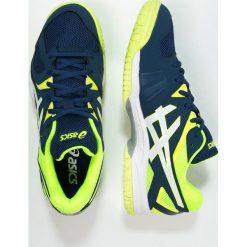 ASICS GELHUNTER 3 Obuwie do siatkówki poseidon/white/safety yellow. Niebieskie buty do siatkówki męskie marki Asics, z gumy. Za 349,00 zł.