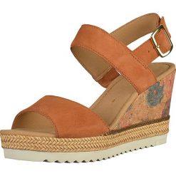 Rzymianki damskie: Skórzane sandały w kolorze pomarańczowym
