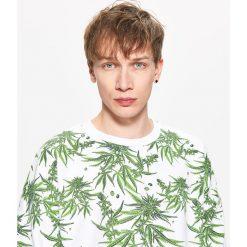 Bejsbolówki męskie: Bluza z nadrukiem roślinnym - Biały