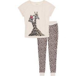 Piżama bonprix beżowo-brązowy z nadrukiem. Brązowe piżamy damskie bonprix, z nadrukiem, z długim rękawem. Za 69,99 zł.