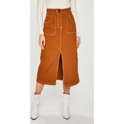 Answear - Spódnica. Szare spódniczki z wysokim stanem marki ANSWEAR, l, z bawełny, midi, proste. Za 149,90 zł.