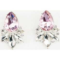 Kolczyki damskie: NA-KD Accessories Duże diamentowe kolczyki – Pink,Multicolor,Silver