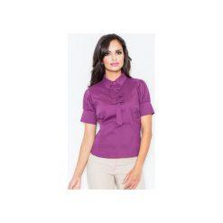 Bluzka M008 Bakłażan. Szare bluzki damskie marki FIGL, m, z bawełny, eleganckie, z asymetrycznym kołnierzem, z długim rękawem. Za 73,00 zł.