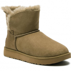 Buty UGG - W Classic Cuff Mini 1016417 W/Alp. Szare buty zimowe damskie marki Ugg, z materiału, z okrągłym noskiem. Za 799,00 zł.