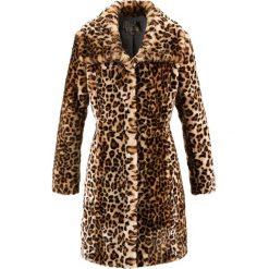 Płaszcze damskie: Płaszcz ze sztucznego futerka bonprix brązowy leo