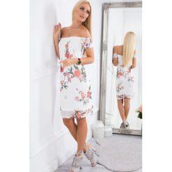 Sukienki hiszpanki: Kremowa Szyfonowa Sukienka Carmen TA6123