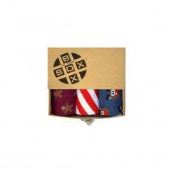 Box Świąteczny (2)- Skarpetki. Brązowe skarpetki męskie Sox in the box, z bawełny. Za 80,00 zł.
