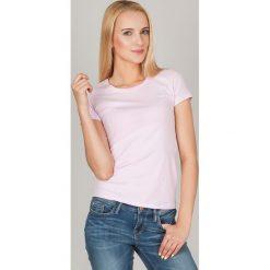Bluzki damskie: Bluzka basic krótki rękaw okrągły dekolt pudrowy róż