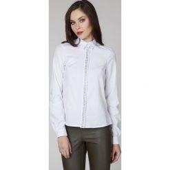 Bielizna damska: Biała Elegancka Koszula z Biżuteryjną Plisą