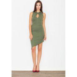 Sukienki: Zielona Asymetryczna Dopasowana Sukienka z Łezką