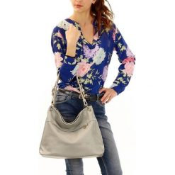 Torebki klasyczne damskie: ESTELLA –  Stylowa włoska torebka ze skóry naturalnej – szara