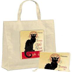"""Torba """"Chat"""" w kolorze beżowo-czerwonym na zakupy - 46 x 40 x 19 cm. Brązowe shopper bag damskie Éditions Clouet, z nadrukiem, z tworzywa sztucznego, z nadrukiem. W wyprzedaży za 24,95 zł."""
