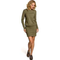 ARABELLA Gładka sukienka z dzianiny dresowej i ściągacza - khaki. Zielone sukienki marki Moe, z dresówki, z długim rękawem, dopasowane. Za 159,90 zł.