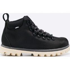 Native - Botki. Szare buty zimowe damskie Native, z materiału, z okrągłym noskiem, na sznurówki. W wyprzedaży za 299,90 zł.