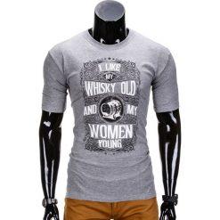 T-SHIRT MĘSKI Z NADRUKIEM S839 - SZARY. Szare t-shirty męskie z nadrukiem Ombre Clothing, m. Za 29,00 zł.