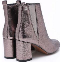 Big Star - Botki. Szare buty zimowe damskie BIG STAR, z materiału, retro, na obcasie. W wyprzedaży za 79,90 zł.