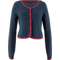 Sweter rozpinany ludowy, krótki fason, długi rękaw bonprix kobaltowo-ciemnoczerwony. Niebieskie kardigany damskie marki bonprix. Za 49,99 zł.