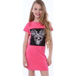 Sukienka dziewczęca z aplikacją amarantowa NDZ8380. Szare sukienki dziewczęce marki Fasardi. Za 49,00 zł.