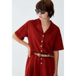 Koszula z krótkim rękawem i guzikami. Brązowe koszule damskie Pull&Bear, z krótkim rękawem. Za 79,90 zł.