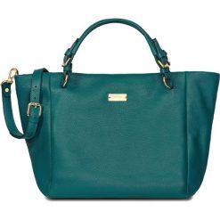 RABAT. Zielone shopper bag damskie marki W.KRUK, w paski, ze skóry, duże. W wyprzedaży za 1249,00 zł.