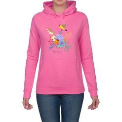 Bluza damska. Kwiaty i ptaki. Różowe bluzy z kapturem damskie marki Pakamera, w kwiaty. Za 119,00 zł.