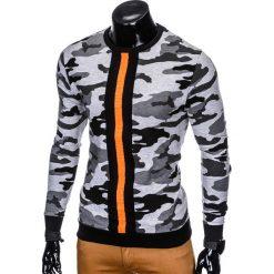 BLUZA MĘSKA BEZ KAPTURA B808 - SZARA. Szare bluzy męskie rozpinane marki Ombre Clothing, m, z bawełny, bez kaptura. Za 49,00 zł.