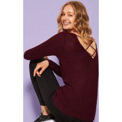 Sweter z dekoltem na plecach - Bordowy. Czarne swetry klasyczne damskie marki KIPSTA, z poliesteru, do piłki nożnej. Za 79,99 zł.
