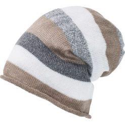 Czapka bonprix szaro-jasnoszary -beżowy-biel wełny. Szare czapki zimowe damskie marki bonprix, z wełny. Za 29,99 zł.