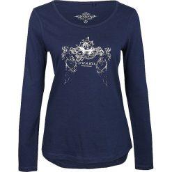 Koszulka w kolorze granatowym. Niebieskie bluzki longsleeves Dreimaster, xs, z nadrukiem, z bawełny, z okrągłym kołnierzem. W wyprzedaży za 85,95 zł.