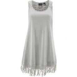 Sukienka plażowa bonprix szary melanż. Białe sukienki koronkowe marki bonprix, na plażę, w koronkowe wzory. Za 79,99 zł.
