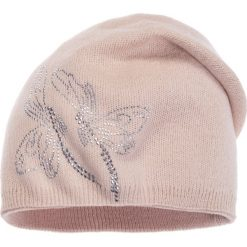 Czapki zimowe damskie: Jasnoróżowa czapka z ważkami QUIOSQUE