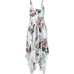Sukienki: Sukienka z asymetryczną linią dołu bonprix biel wełny w kwiaty
